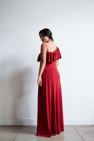 1970s Blood Orange One Shoulder Ruffled Gown