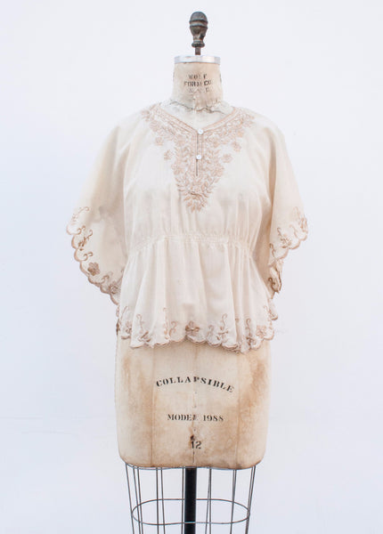 Beige Embroidered Angel Sleeve Blouse