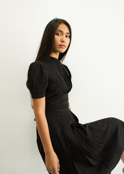 1940s Black Pleated Rayon Dress