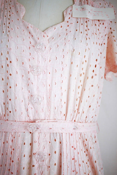 1930s 'Kate's' Pink Eyelet Day Dress