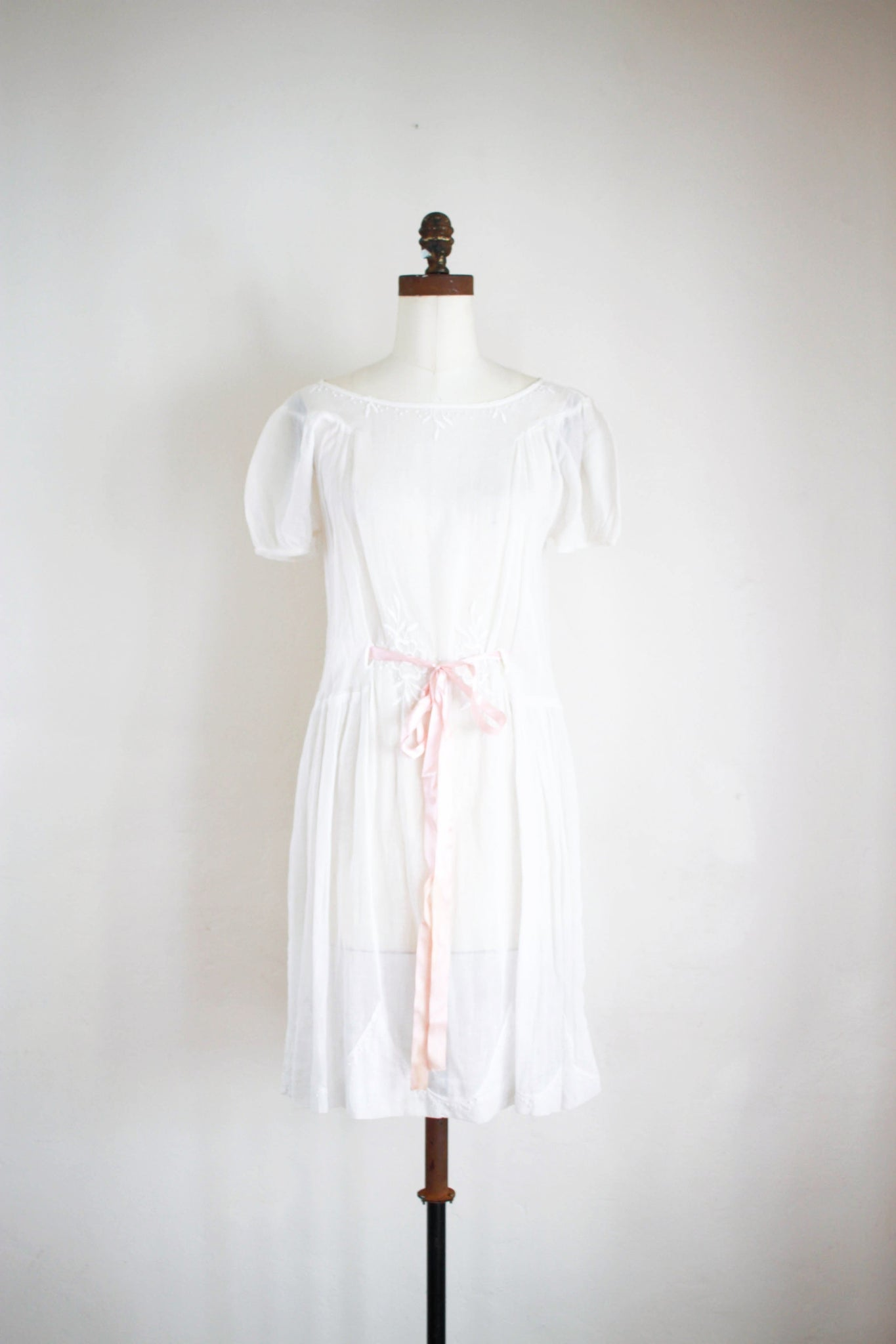 1920s Cotton Voile Embroidered Dress