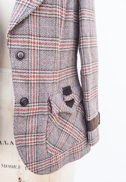 Plaid Houndstooth Suede Collar Jacket