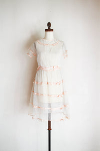 1920s Net Ribbon Tiered Dress