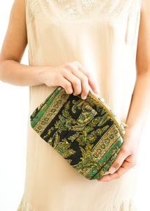 1940s Quilted Paisley Clutch Bag