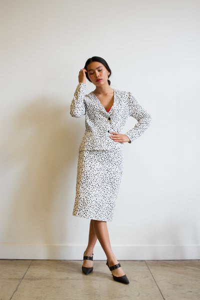 1980s Celine Dalmatian Spotted Suit Set