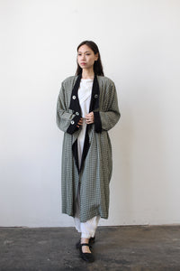 1980s Rayon Checkered Print Oversized Coat