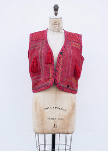 Indian Cotton Ticking Embroidered Vest