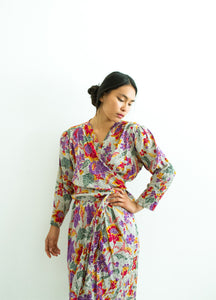 1980s Floral Overlay Saint Laurent Wrap Dress