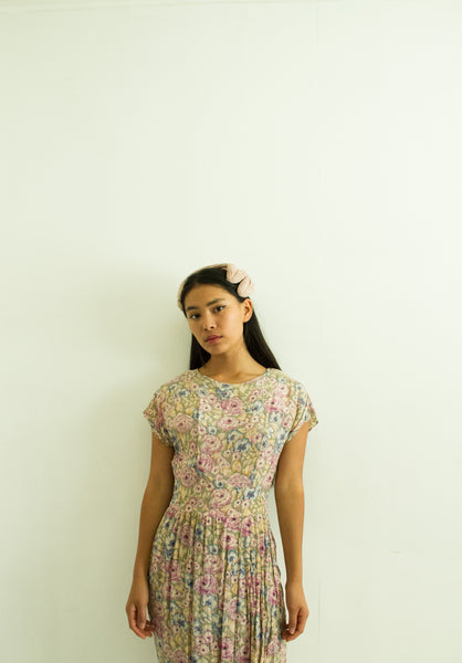 1960s Young Edwardian Pastel Floral Dress