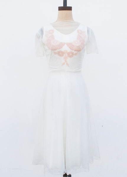 Cream Lace Sheer Overlay Dress