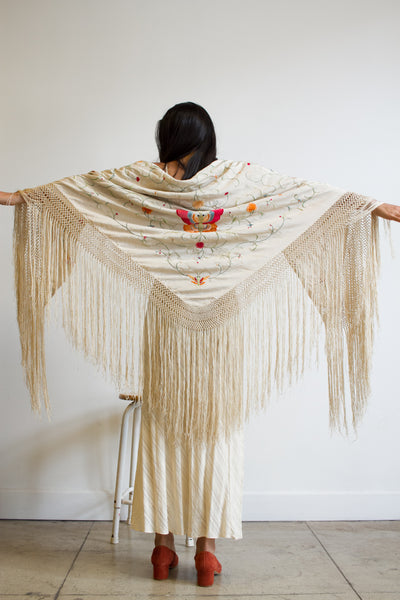1920s Ecru Silk Butterfly Embroidered Piano Shawl