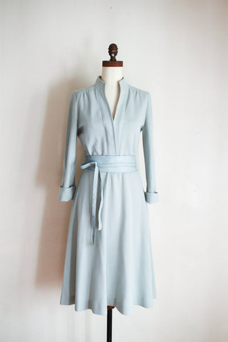 1970s David Warren Mint Long Sleeve Belted Dress