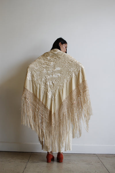 Antique 1920s Ecru Bridal Embroidered Piano Shawl