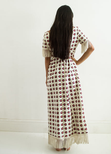 1970s Pinwheel Cotton Maxi Dress
