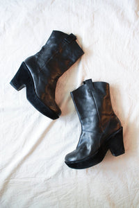 1990s Kork-Ease Leather Platform Boots | 9