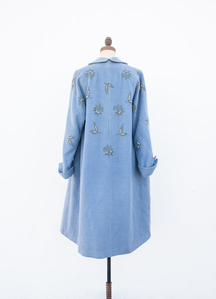 Cerulean Embroidered Wool Tent Coat