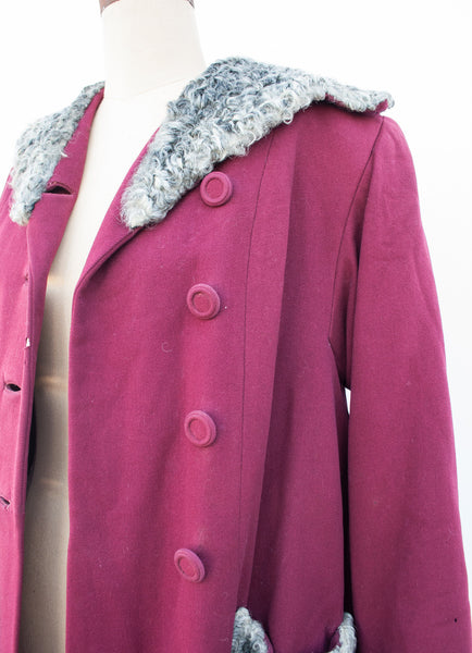 1940s Crimson Wool Coat