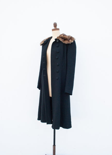 1940s Virgin Wool Fur Collar Coat