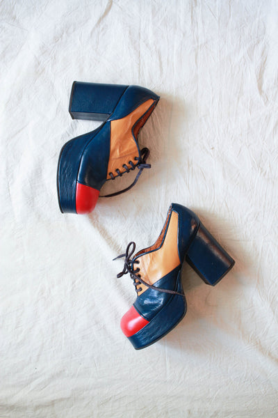1960s Spanish Leather Colorblock Disco Platforms