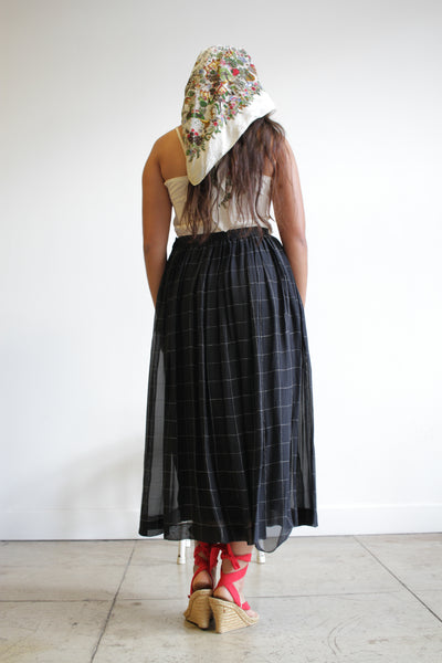 1980s Giorgio Armani Window Pane Silk Midi Skirt
