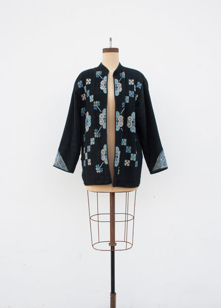 Cornflower Blue Ikat Reversible Jacket