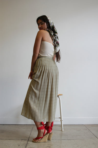 1980s Calvin Klein Grey Silk Sheer Print Skirt