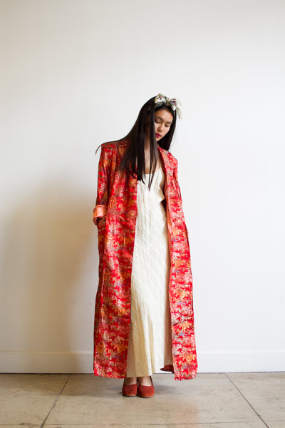 1970s Red Satin Chinese Embroidered Robe Duster