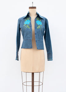 Denim Embroidered Crop Jacket