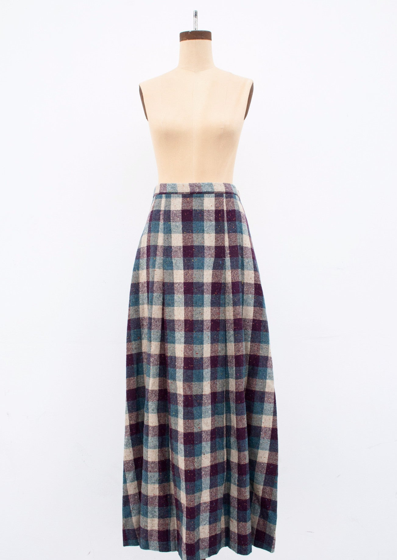 Plum Plaid Wool Maxi Skirt