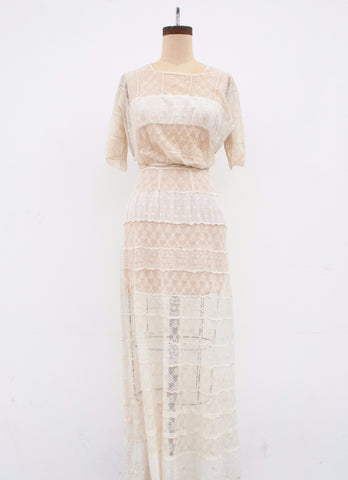 Edwardian Cream Lace Lawn Dress