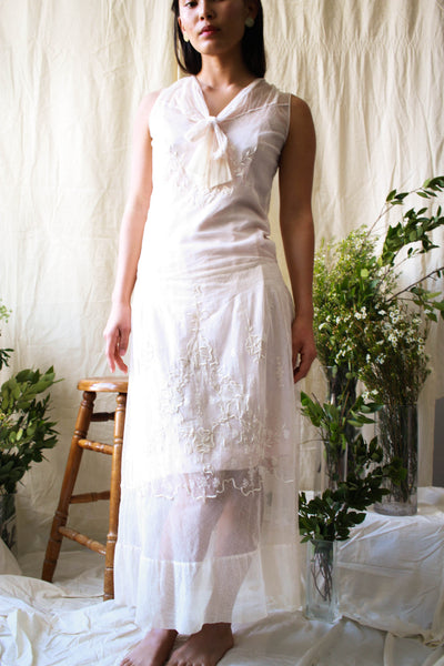 Antique 1920s Ecru Net lace Embroidered Wedding Dress
