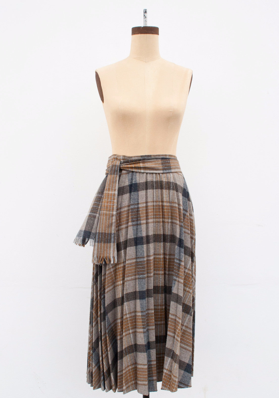 Plaid Wool Accordion Pleated Midi Skirt