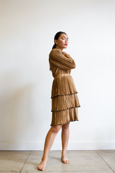 1980s Jeanne Marc Copper Pleated Two-Piece