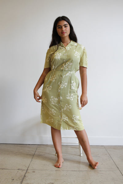 1950s Celery Green Rayon Ribbon Print Dress