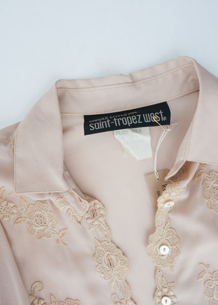 Blush Silk Embroidered Shirt Dress