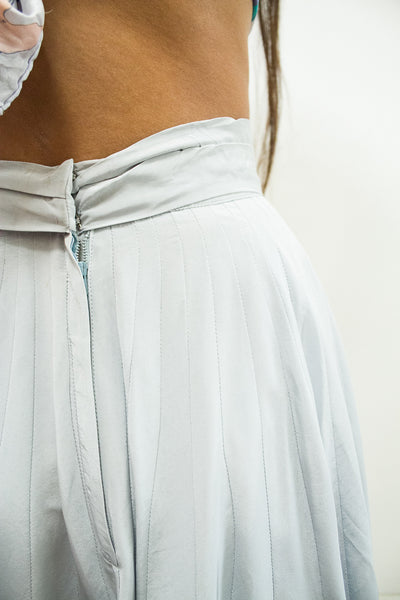 1950s Powder Blue Pleated Rayon Skirt