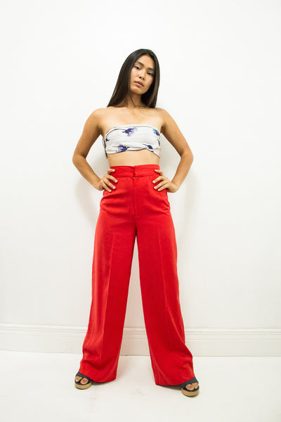 1970s Cherry Red Wide Leg Trousers