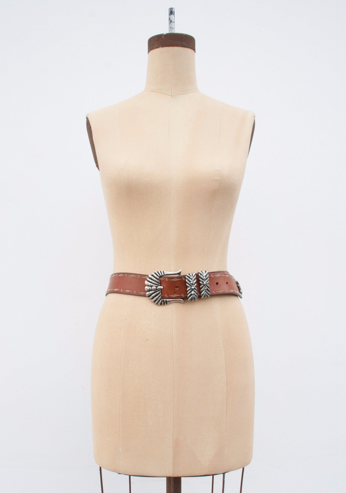 Leather Silver Buckle Belt