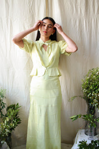1930s Chartreuse Silk Taffeta Dress Set