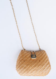Straw Woven Hard Case Shoulder Bag