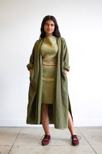 1980s Quilted Army Green Duster