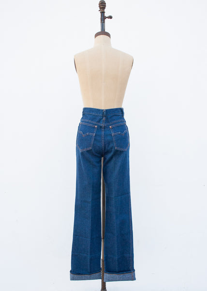1970s Blue High Waist Denim Jeans | 28