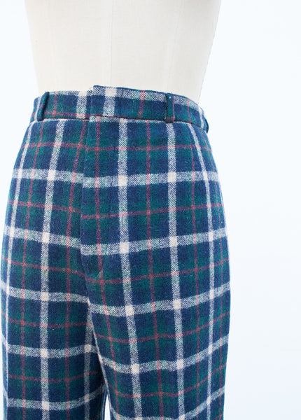 Hunter Green Wool Plaid Trousers