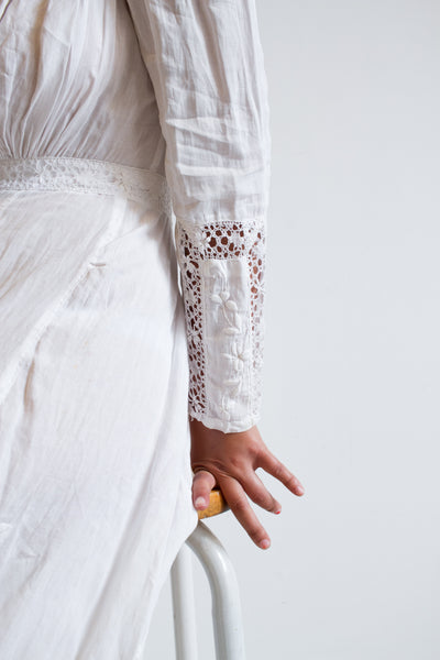 Edwardian White Cotton Embroidered Lawn Dress
