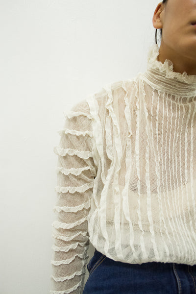 Edwardian Mesh High Neck Blouse