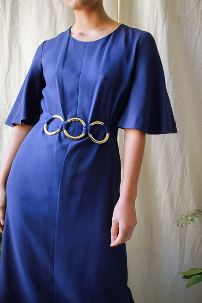 1960s Dior Couture Indigo Violet Crepe Belted Dress