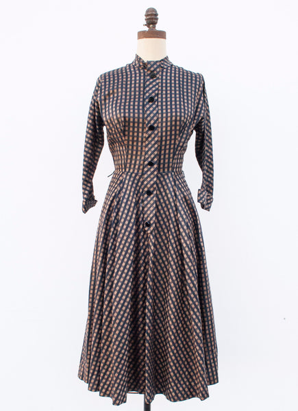 Bronze Plaid Silk Dress