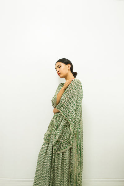 1960s Raksha Indian Print Silk Dress