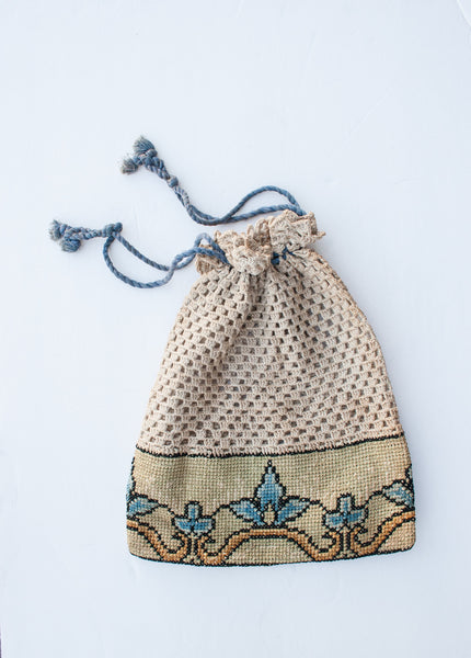 1930s Cross-stich Drawstring Bag