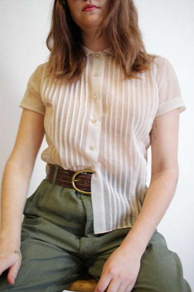 1950s Translucent Pleated Blouse